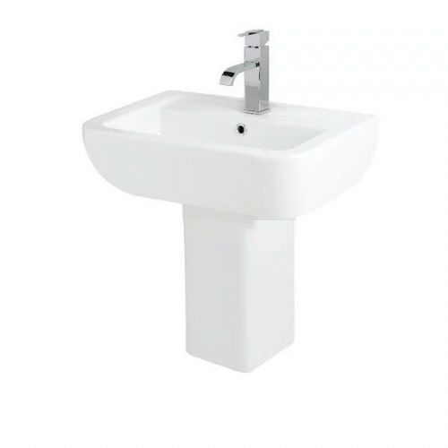 Kartell Options 600 Basin - Semi Pedestal - 560mm Wide - 1 Tap Hole - White